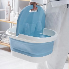 Mrosaa Ember Kaki Folding Foot Wash Hot Tub Sauna Massage Bucket - M30 - Blue - 4