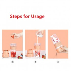 ANKALE Blender Buah Mini Portable Juicer Cup 300ml - PA-G01 - Pink - 10