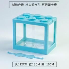 TOPINCN Aquarium Mini Lego Block 4 Side Windows 12x8x10cm - TOP4 - Blue