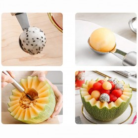 Walfos Sendok Pengupas Buah Salad Double-headed Fruit Spoon Scooper -  WYV737 - Silver - 7