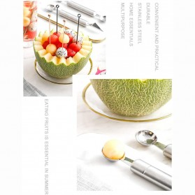 Walfos Sendok Pengupas Buah Salad Double-headed Fruit Spoon Scooper -  WYV737 - Silver - 8