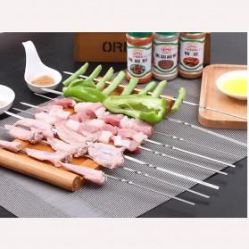 HALOJAJU Alat Tusuk Sate BBQ Needle Reusable Stainless Steel Round 33cm 100 PCS - Miao-480 - 2