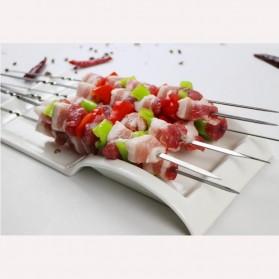 HALOJAJU Alat Tusuk Sate BBQ Needle Reusable Stainless Steel Round 33cm 100 PCS - Miao-480 - 3