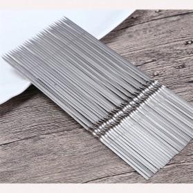 HALOJAJU Alat Tusuk Sate BBQ Needle Reusable Stainless Steel Round 33cm 100 PCS - Miao-480 - 4