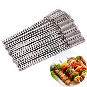 HALOJAJU Alat Tusuk Sate BBQ Needle Reusable Stainless Steel Round 33cm 100 PCS - Miao-480 - 5