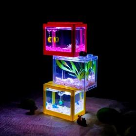 TOPINCN Aquarium Mini Lego Block 4 Side Windows 12x8x10cm with White LED - TOP4 - Black - 3
