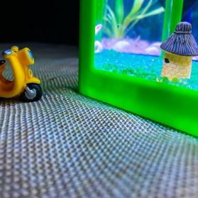 TOPINCN Aquarium Mini Lego Block 4 Side Windows 12x8x10cm with White LED - TOP4 - Black - 5