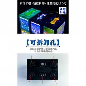 TOPINCN Aquarium Mini Lego Block 4 Side Windows 12x8x10cm with White LED - TOP4 - Black - 6