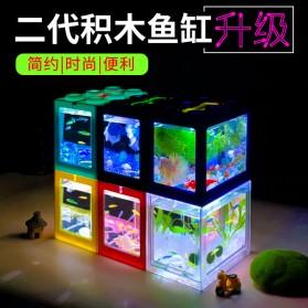 TOPINCN Aquarium Mini Lego Block 4 Side Windows 12x8x10cm with White LED - TOP4 - Transparent