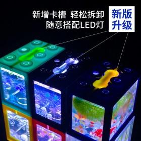 TOPINCN Aquarium Mini Lego Block 4 Side Windows 12x8x10cm with White LED - TOP4 - Transparent - 4