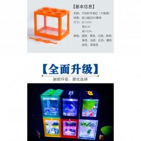 TOPINCN Aquarium Mini Lego Block 4 Side Windows 12x8x10cm with White LED - TOP4 - Transparent - 8