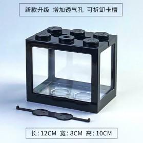 TOPINCN Aquarium Mini Lego Block 4 Side Windows 12x8x10cm with White LED - TOP4 - Transparent - 9