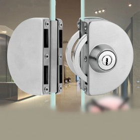 GL Kunci Pintu Kaca Sliding Glass Door Lock Double Bolt Double Door 10-12mm - MJ-123A - Silver