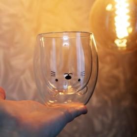 LETUZI Cangkir Kopi Anti Panas Double-Wall Borosilicate Glass Cute Cartoon 250ml - Transparent - 2