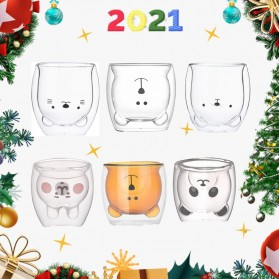 LETUZI Cangkir Kopi Anti Panas Double-Wall Borosilicate Glass Cute Cartoon 250ml - Transparent - 3