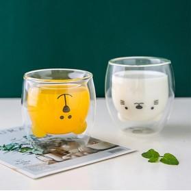 LETUZI Cangkir Kopi Anti Panas Double-Wall Borosilicate Glass Cute Cartoon 250ml - Transparent - 4