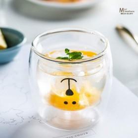 LETUZI Cangkir Kopi Anti Panas Double-Wall Borosilicate Glass Cute Cartoon 250ml - Transparent - 5