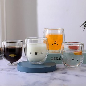 LETUZI Cangkir Kopi Anti Panas Double-Wall Borosilicate Glass Cute Cartoon 250ml - Transparent - 6