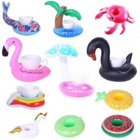 Doffy Pelampung Gelas Minum Kolam Renang Inflatable Cup Holder Model Flamingo - XY19 - Multi-Color - 2