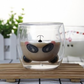 LETUZI Cangkir Kopi Anti Panas Double-Wall Borosilicate Glass Cute Animal 250ml - Transparent - 3