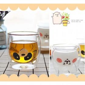 LETUZI Cangkir Kopi Anti Panas Double-Wall Borosilicate Glass Cute Animal 250ml - Transparent - 9