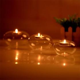 Faroot Gelas Lilin Glass Candle Holder Romantic Dinner Model Bundar 10cm - F001 - Transparent