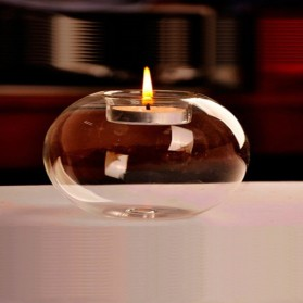 Faroot Gelas Lilin Glass Candle Holder Romantic Dinner Model Bundar 10cm - F001 - Transparent - 2
