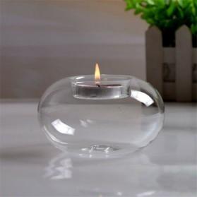 Faroot Gelas Lilin Glass Candle Holder Romantic Dinner Model Bundar 10cm - F001 - Transparent - 3
