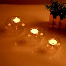 Faroot Gelas Lilin Glass Candle Holder Romantic Dinner Model Bundar 10cm - F001 - Transparent - 4