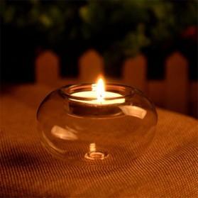 Faroot Gelas Lilin Glass Candle Holder Romantic Dinner Model Bundar 10cm - F001 - Transparent - 5