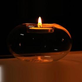 Faroot Gelas Lilin Glass Candle Holder Romantic Dinner Model Bundar 10cm - F001 - Transparent - 6