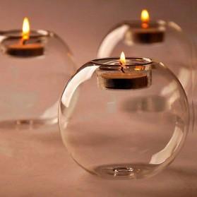 Faroot Gelas Lilin Glass Candle Holder Romantic Dinner Model Bundar Style Eropa 10cm - F002 - Transparent