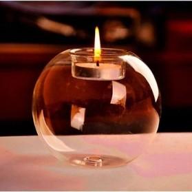 Faroot Gelas Lilin Glass Candle Holder Romantic Dinner Model Bundar Style Eropa 10cm - F002 - Transparent - 2