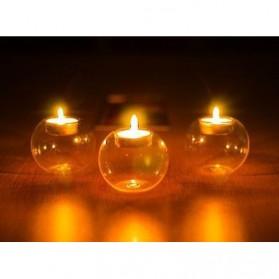 Faroot Gelas Lilin Glass Candle Holder Romantic Dinner Model Bundar Style Eropa 10cm - F002 - Transparent - 3