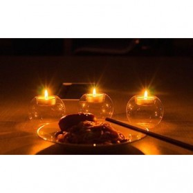 Faroot Gelas Lilin Glass Candle Holder Romantic Dinner Model Bundar Style Eropa 10cm - F002 - Transparent - 4