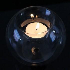 Faroot Gelas Lilin Glass Candle Holder Romantic Dinner Model Bundar Style Eropa 10cm - F002 - Transparent - 5