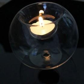 Faroot Gelas Lilin Glass Candle Holder Romantic Dinner Model Bundar Style Eropa 10cm - F002 - Transparent - 6
