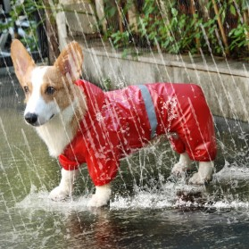 HAND-IN Pakaian Jas Hujan Anjing Reflective Pet Raincoat Size XXL - JH01 - Red