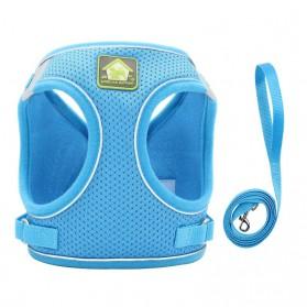 BIBSS Rompi Mesh Anjing Chest Harness Vest Size XL with Dog Leash - BIB97 - Blue