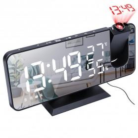 Ishiline Jam Alarm Digital Proyektor Temperature Humidity FM Radio - EN8827 - Black