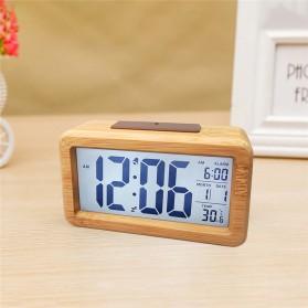 Lovin Jam Digital LED Wooden Alarm Clock Temperature - G397679 - Wooden