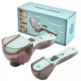LMETJMA Sendok Ukur Adjustable Measuring Spoons Marking Magnetic Scoop 2 PCS - KC0602 - Blue - 9