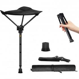 TelesPad Kursi Lipat Memancing Portable Telescopic Stool Folding Fishing Chair - TP066 - Black