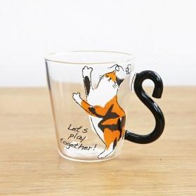 Meow Cangkir Kopi Glass Coffee Mug Tail Cute Cat Handle 250ml - KIT063 - Orange