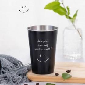 NTE Cangkir Mug Stainless Steel Model Smile Face 500ml - C8781 - Black