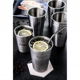 NTE Cangkir Mug Stainless Steel Model Smile Face 500ml - C8781 - Black - 2