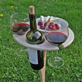 Purplepure Meja Mini Outdoor Taman Slot Gelas Botol Piring Foldable Picnic Wine Table - KT007 - Wooden