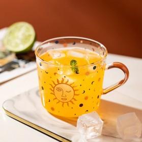 MDZF Gelas Cangkir Kopi Glass Coffee Mug Desain Matahari 500ml - MD17 - Transparent