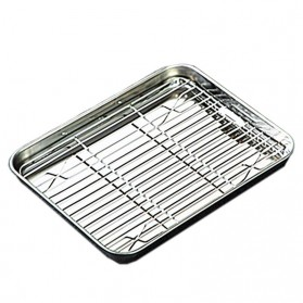 NLSLASI Loyang Nampan Baking Sheet Tray Rack Removable Stainless Steel Size M - NL28 - Silver