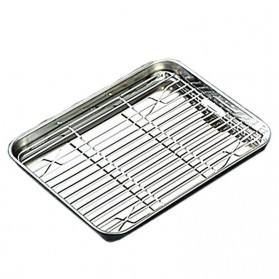 NLSLASI Loyang Nampan Baking Sheet Tray Rack Removable Stainless Steel Size L - NL28 - Silver